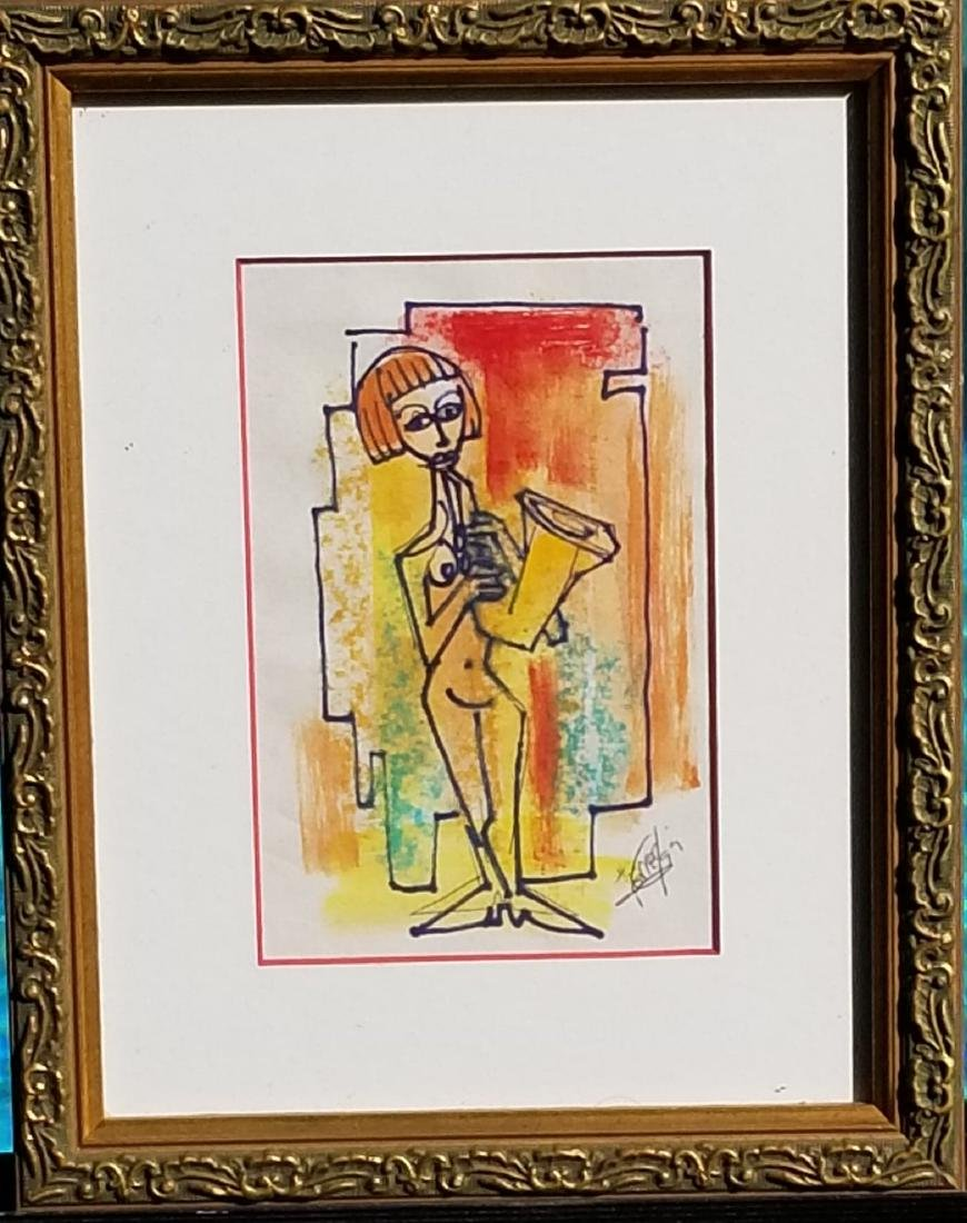 """Ferrer 99- Mixed Media on Paper- Size: 6""""h X 4""""w-"""
