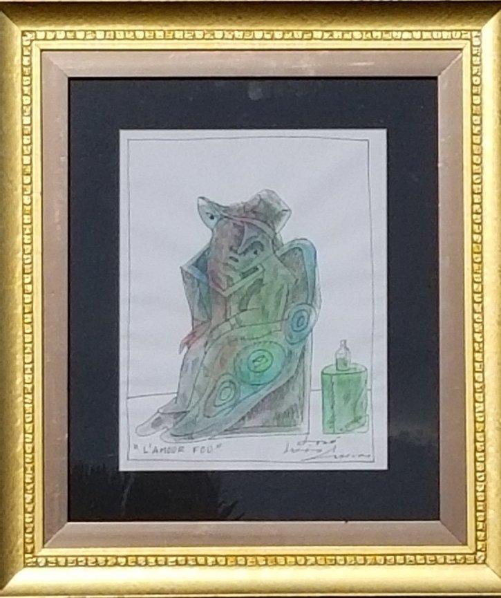 "Jose Luis Cuevas Water color ink  on paper size:11.5""h"