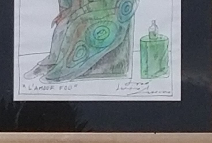 "Jose Luis Cuevas Water color ink  on paper size:11.5""h - 2"