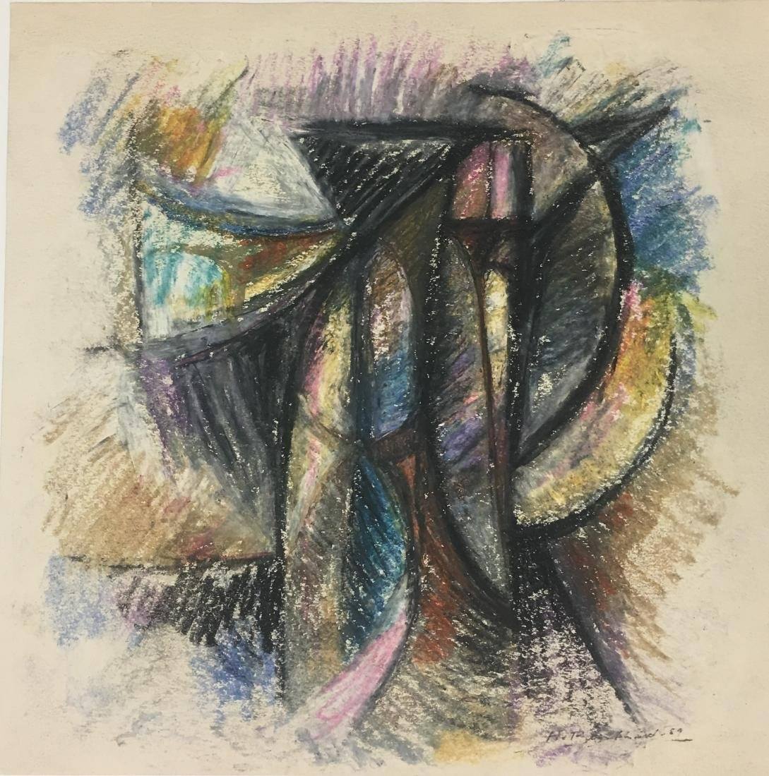 """Pastels/paper, measures 13 x 13.5 """"w- Shipping within"""