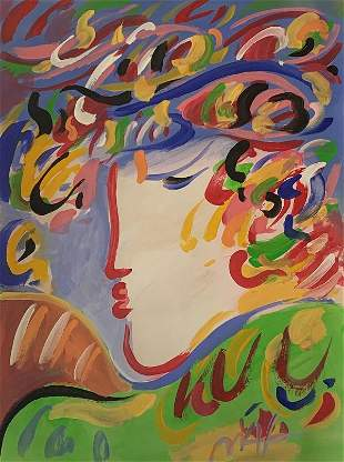 PETER MAX . WATERCOLOR ON PAPER. attrib-Certificated of