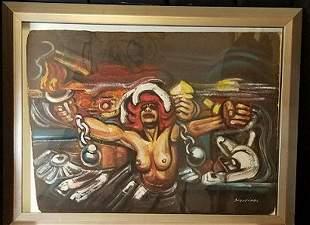 David Alfaro Siqueiros ,Acryllic, wood, measures 31h x