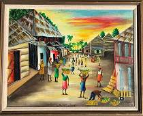 HENRI. GUSTAVE. HAITI CONTEMPORANY ARTIST. OIL ON