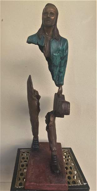 """BRUNO CATALANO. BRONZE SCULPTURE with MARBLE BASE 1""""."""