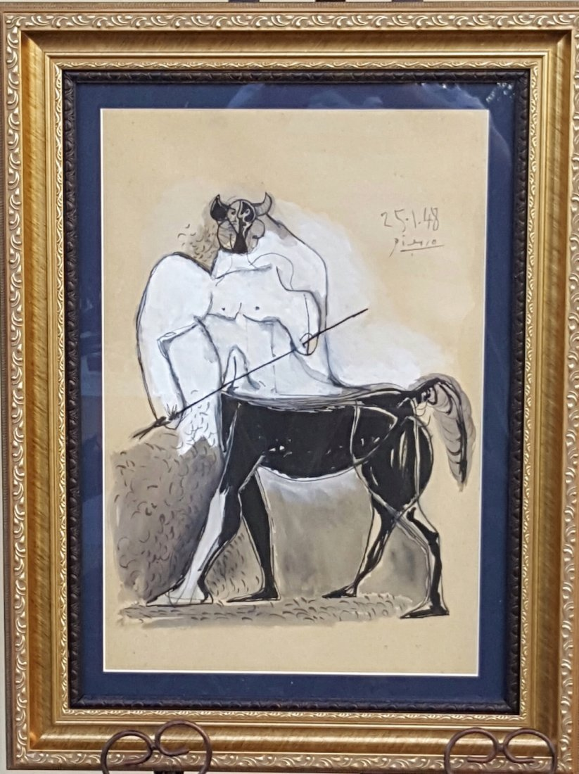 Pablo Picasso-Minotauro-Mixed Technique (Attrib.) COA