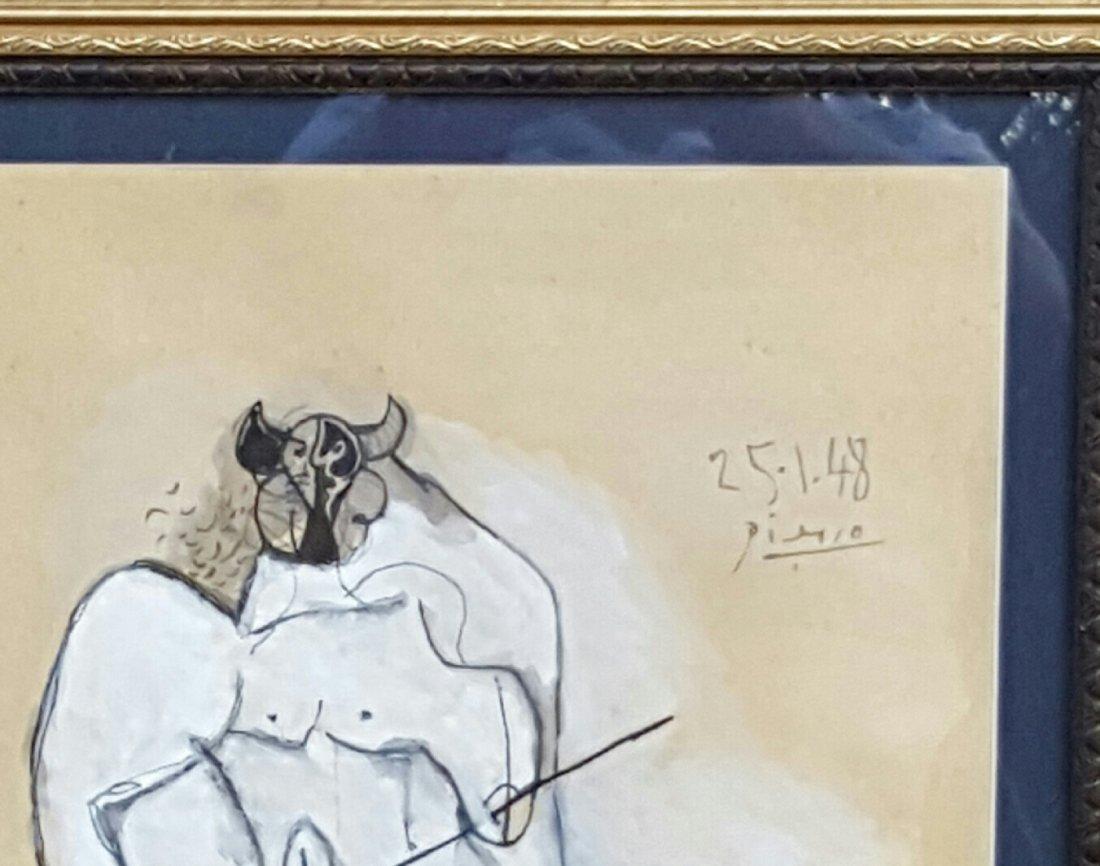 Pablo Picasso-Minotauro-Mixed Technique (Attrib.) COA - 3
