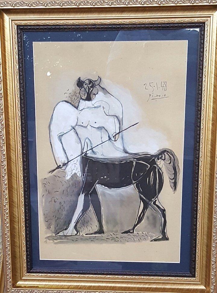 Pablo Picasso-Minotauro-Mixed Technique (Attrib.) COA - 4
