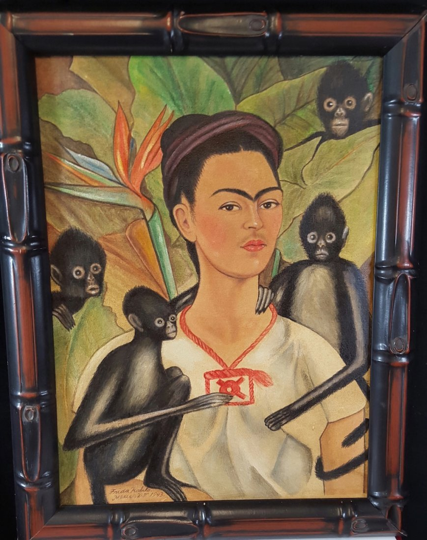 Frida Kahlo-Frida With Monos- Oil On Canvas(Attrib.)COA