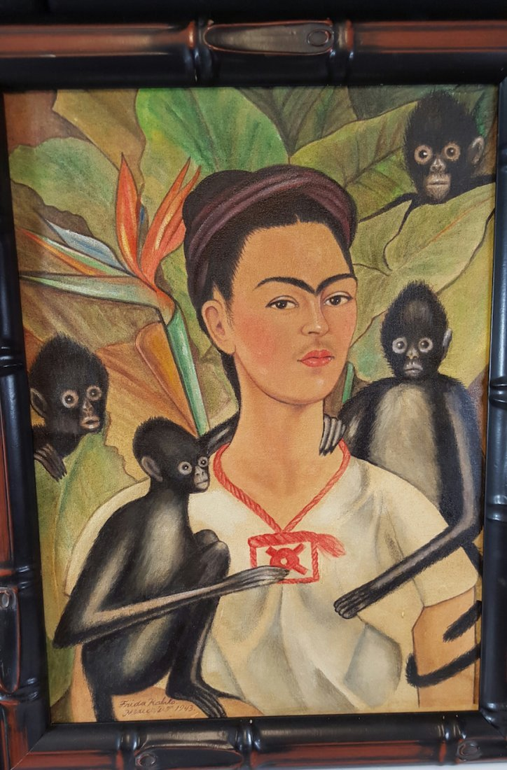 Frida Kahlo-Frida With Monos- Oil On Canvas(Attrib.)COA - 2