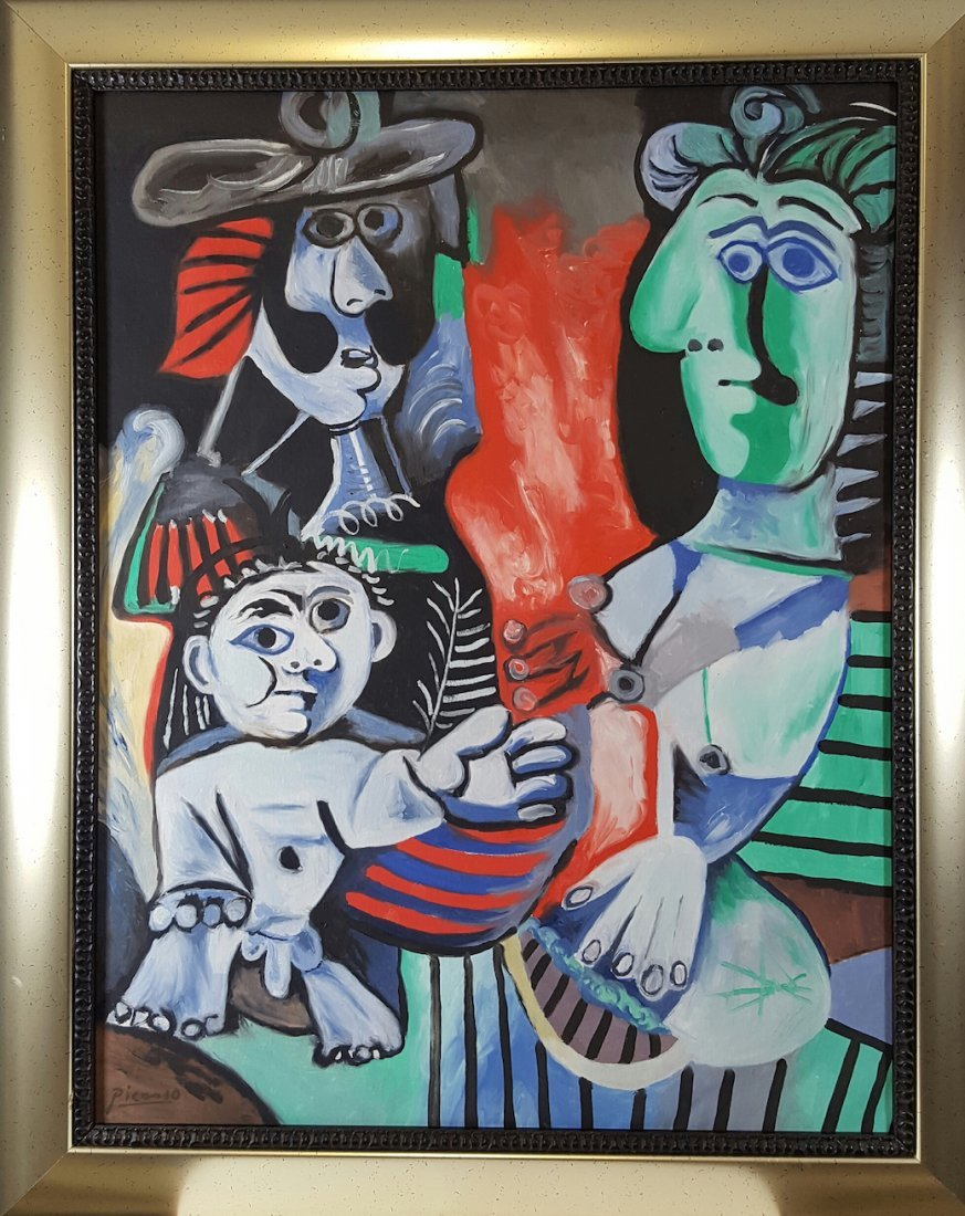 "Pablo Picasso (COA)-Oil on canvas-size: 29""h x 23""w"