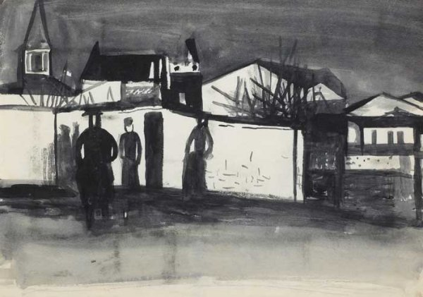 6: FIGURES IN A STREET, circa 1938, brush and ink, 25 b