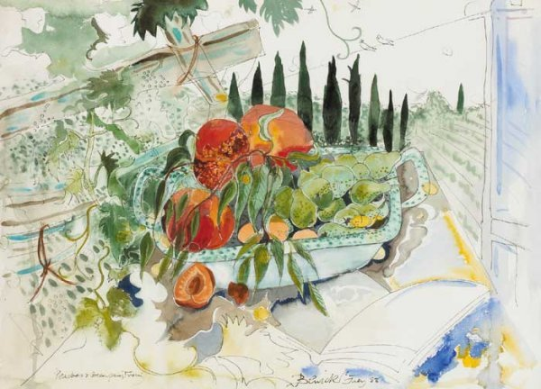 15: PEACHES AND GREEN PEARS, TUSCANY, 1988, watercolour