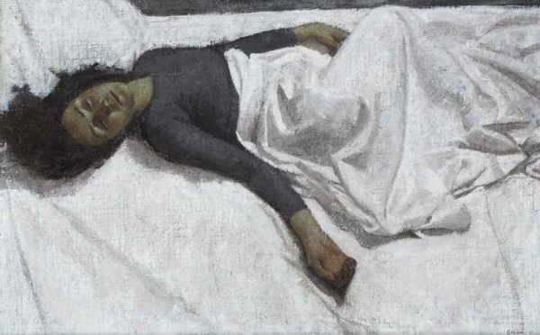 17: SLEEPING GIRL, 1999, oil on board, signed and dated