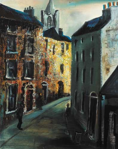 46: IN THE LIBERTIES, oil on board,  signed lower right