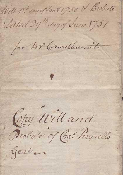 17: 1751 Copy Will of Charles Reynolds of Monart