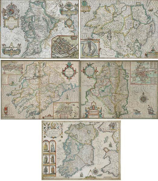 """10: John Speed """"The Kingdom of Ireland"""" And """"Maps of Co"""