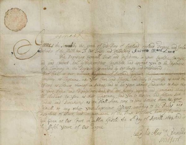 18: Military commission signed by King James II