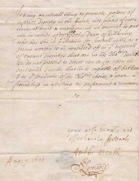 19: 1690 (9 August) Letter to Sir Robert Southwell