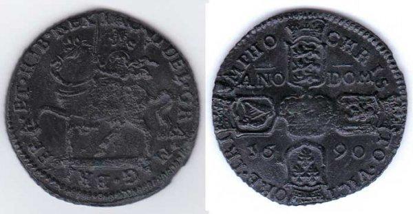 20: 1690 James II Gunmoney crown (five shillings) coin