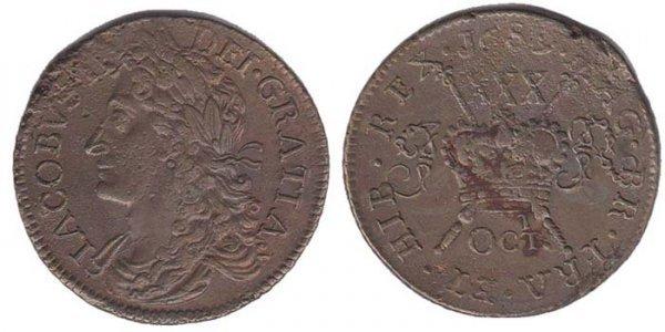 22: 1689 King James II Gunmoney large halfcrown coin