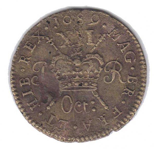 23: 1689 King James II Gunmoney sixpence and shilling
