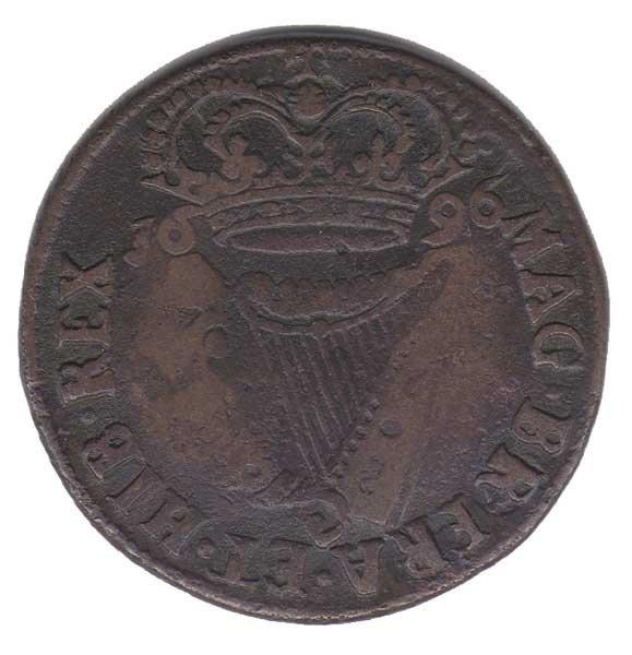 24: 1696 King William III Irish halfpenny coin