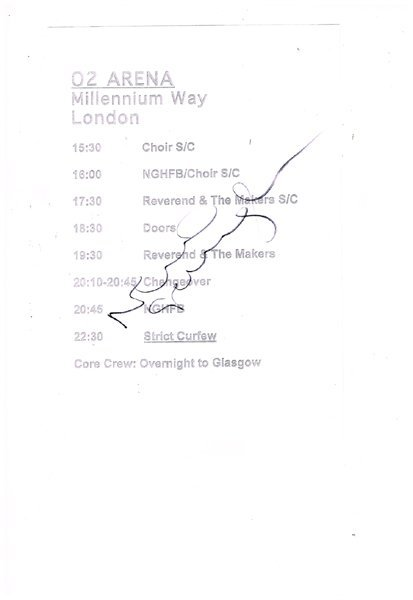 Noel Gallagher: Autographed set list from The O2 Arena