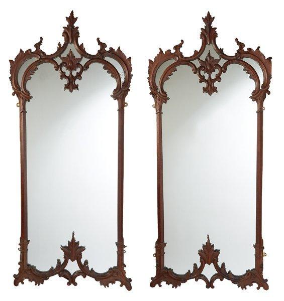 Early 19th century pair of Irish mahogany mirrors.