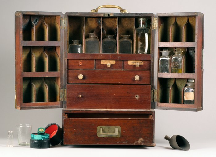 Early 19th century apothecary's chest