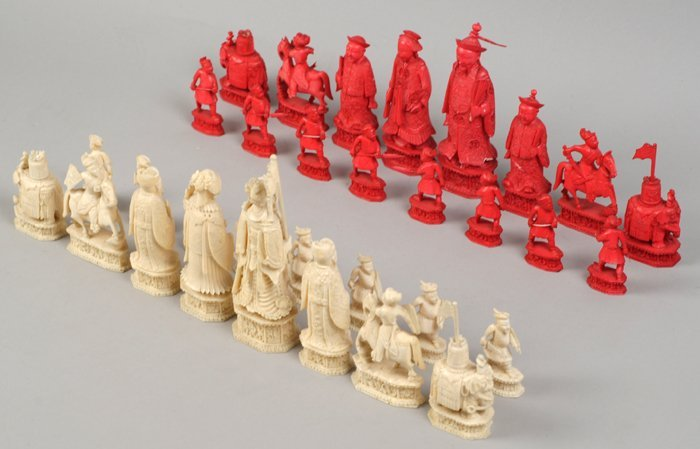 A 19th century Cantonese ivory sculptural chess set