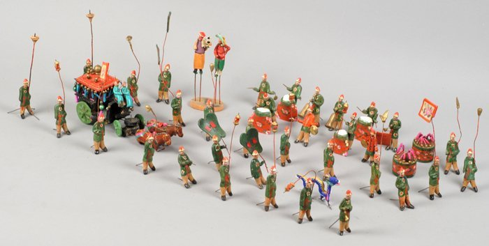 Chinese Wedding Procession, clay figures