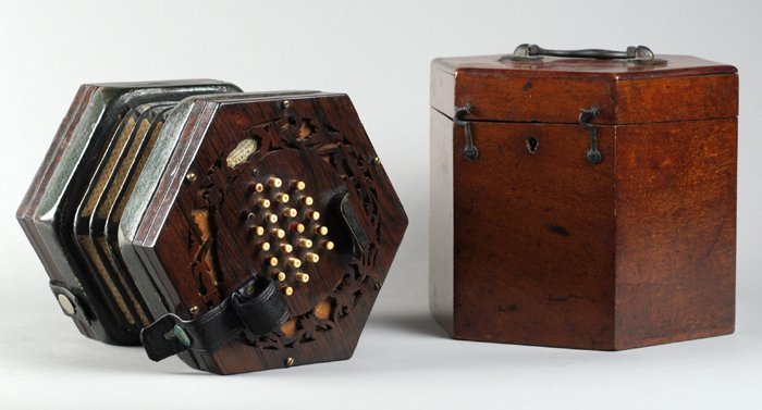 A mid-19th Century Irish Rosewood Concertina, by