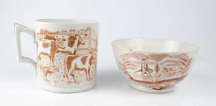 circa 1900: Belleek second period hunting scene bowl