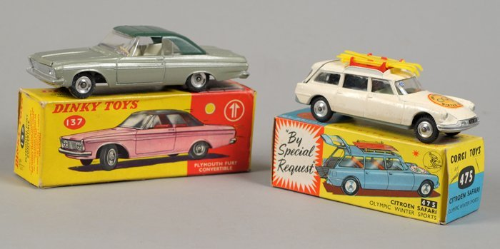 Corgi 475 and Dinky 137 Toy Cars