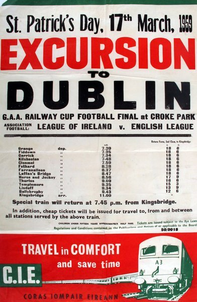 GAA and Association Football. CIE poster for Railway