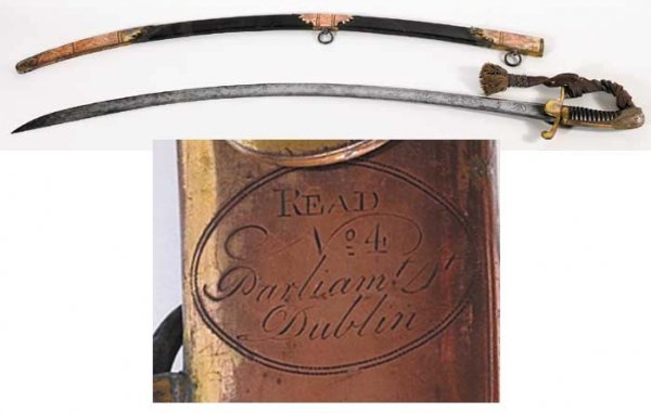 19: Circa 1800 military officer's sword by Read's of Du