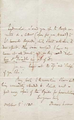 24: Thomas Moore (1779-1852) Autograph manuscript lette