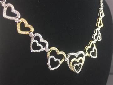"18k Two Tone Gold Heart Necklace 17"" 2.10ct Diamonds"