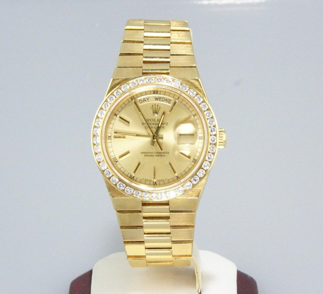 18k Gold Rolex Presidential OysterQuartz 3ct Diamond