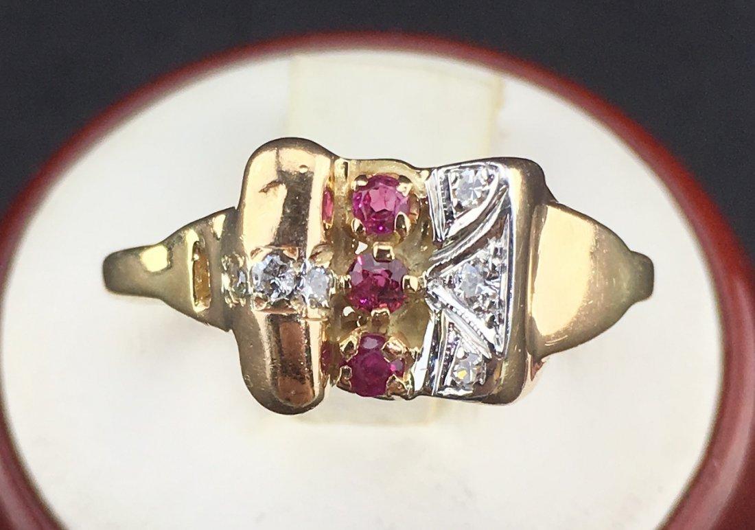 Art Deco 14k Rose Gold Ring 0.15ct Diamonds 0.15ct