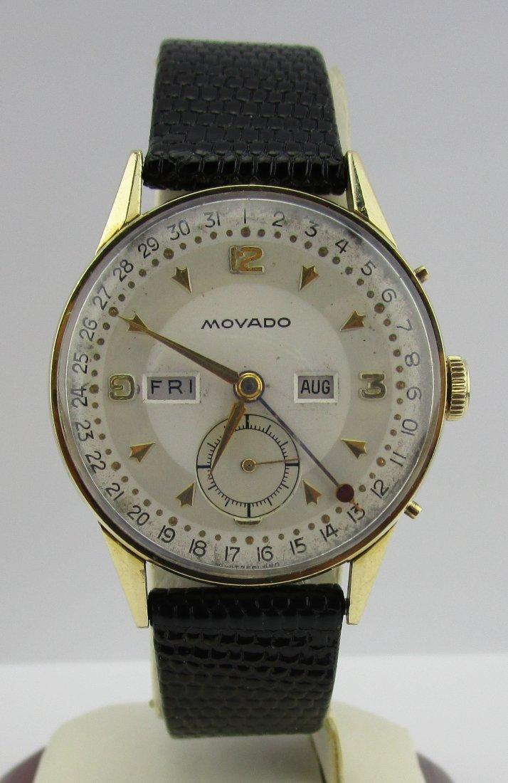 Vintage 14k Gold Movado Triple Date Wind up Watch