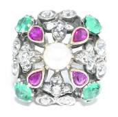 Antique 14k Gold Ring w/ Diamonds Rubies Emeralds &