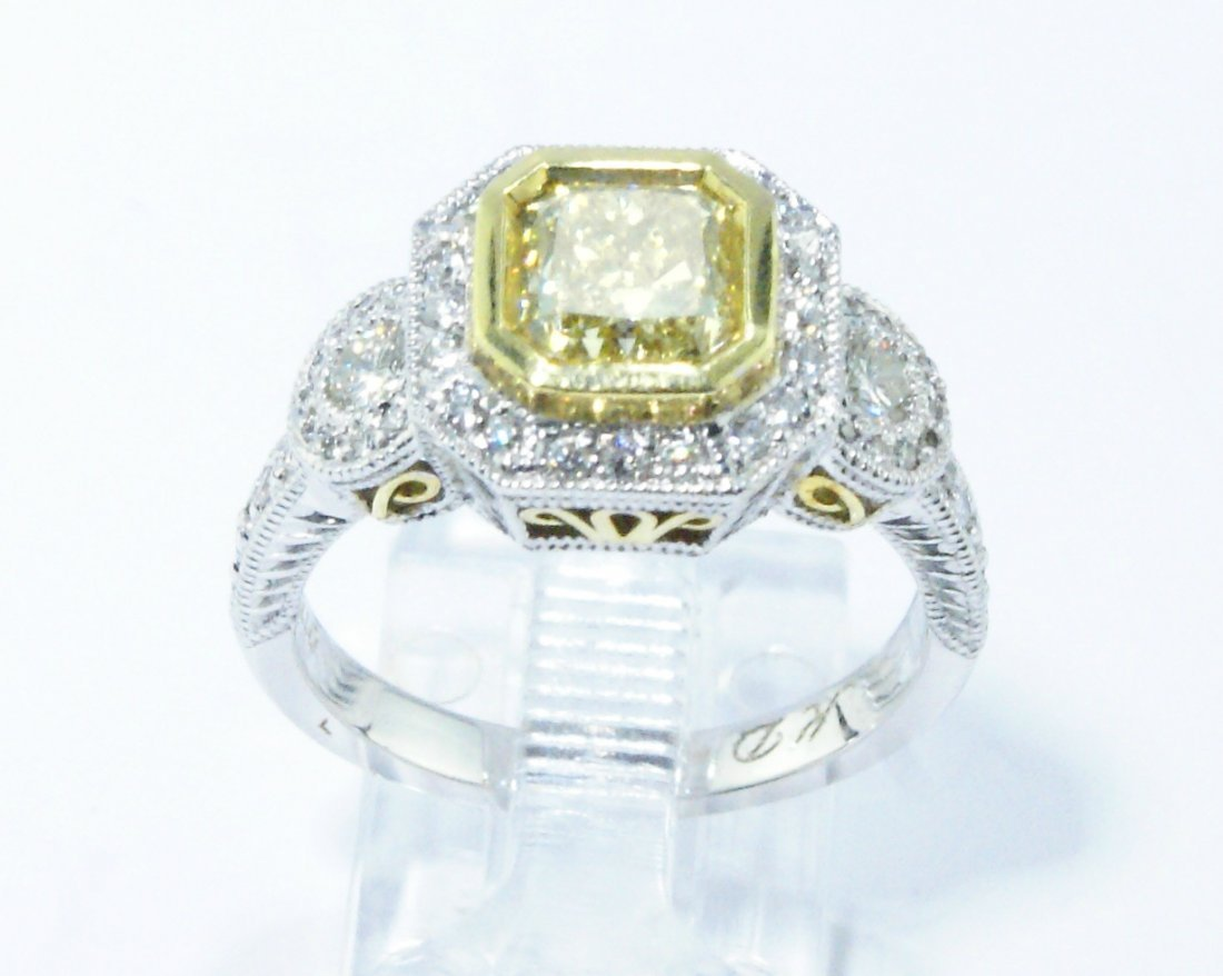 1.52 ct Fancy Yellow Diamond Ring 18k White Gold 1.99