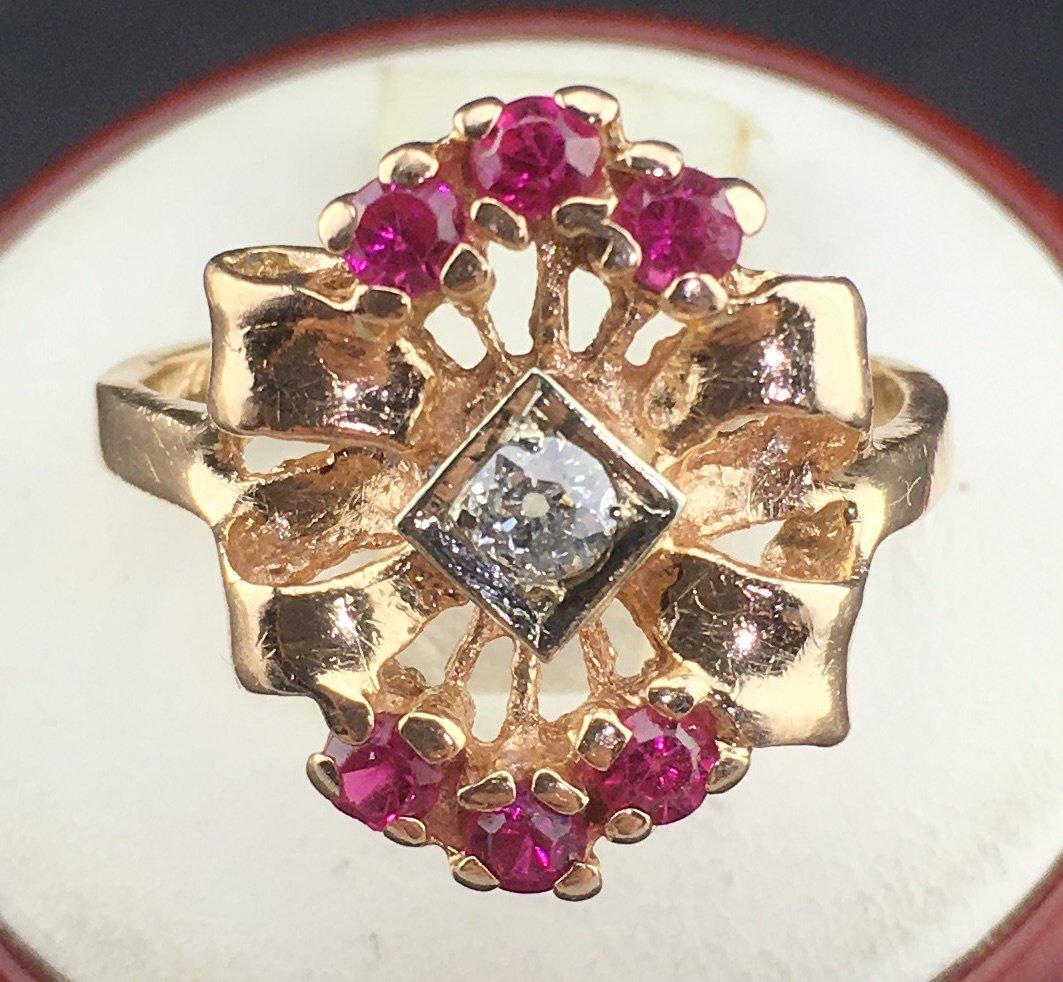 Art Deco 14k Rose Gold Ring 0.12ct Diamonds 0.50ct