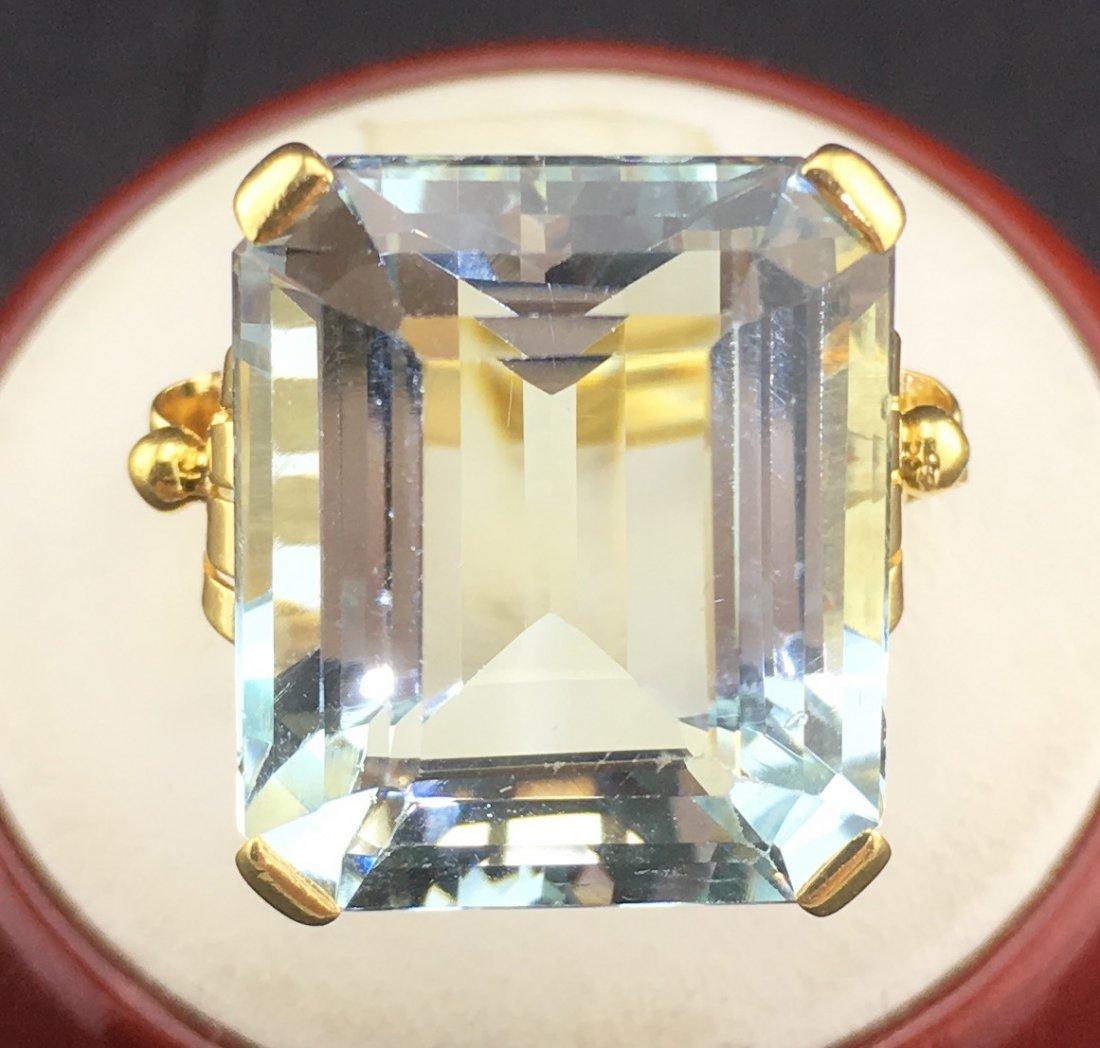 Art Deco 14k Yellow Gold Ring w/ 17.45 ct Aquamarine