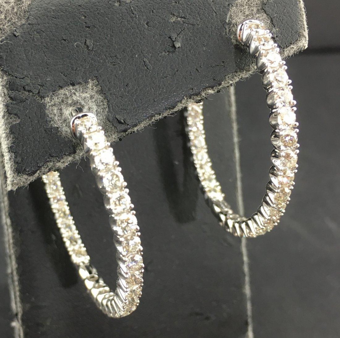 14k White Gold Hoop Earrings w/ 4.42 ct of Diamonds