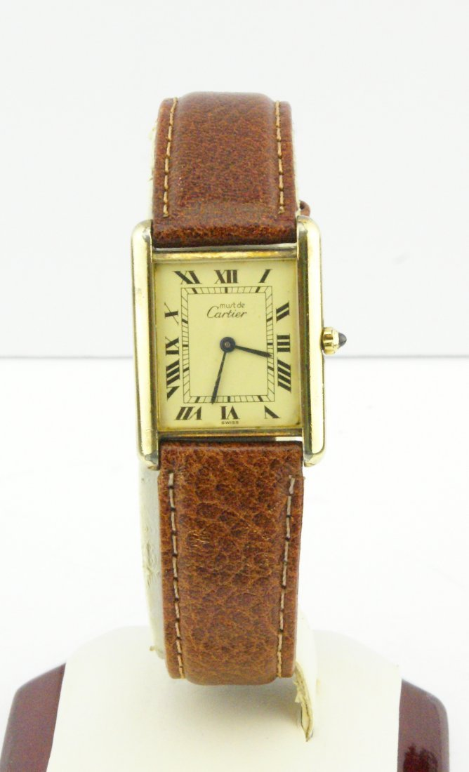 Cartier Tank Watch Solid 925 Silver 18k Gold Plated