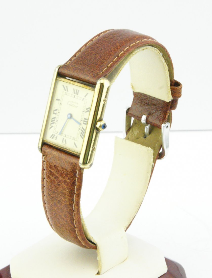 Cartier Tank Watch Solid 925 Silver 18k Gold Plated - 2