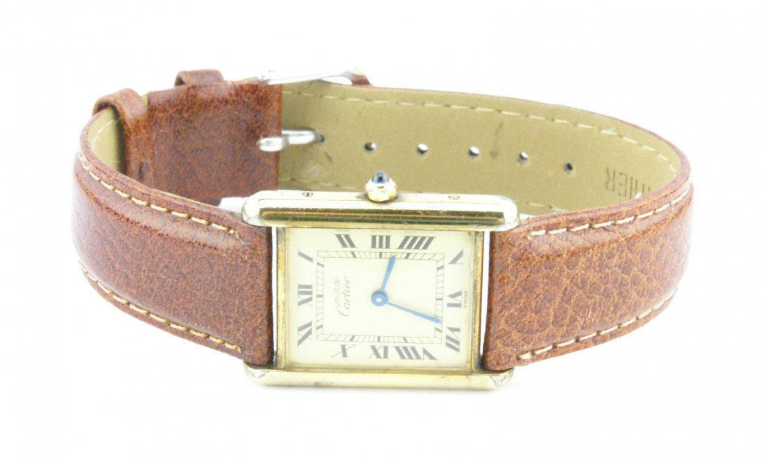 Cartier Tank Watch Solid 925 Silver 18k Gold Plated - 3