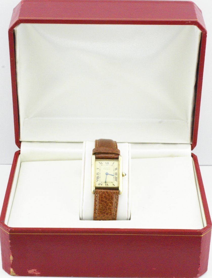 Cartier Tank Watch Solid 925 Silver 18k Gold Plated - 5